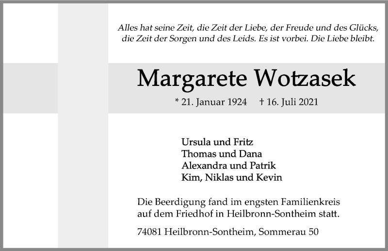 Traueranzeige für Margarete Wotzasek vom 24.07.2021 aus GESAMT