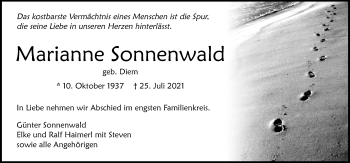 Traueranzeige von Marianne Sonnenwald von GESAMT