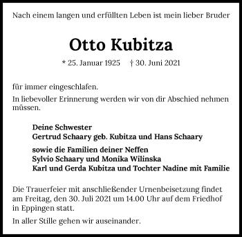 Traueranzeige von Otto Kubitza von GESAMT