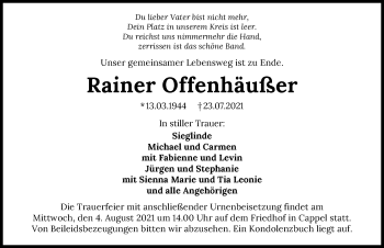 Traueranzeige von Rainer Offenhäußer von GESAMT