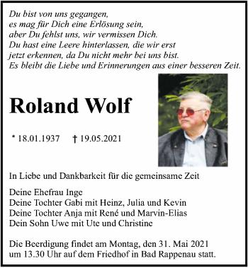 Traueranzeige von Roland Wolf von GESAMT