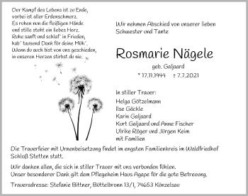 Traueranzeige von Rosemarie Nägele von GESAMT