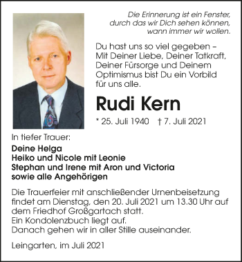 Traueranzeige von Rudi Kern von GESAMT