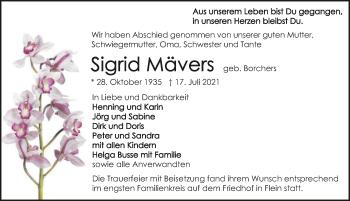 Traueranzeige von Sigrid Mävers von GESAMT