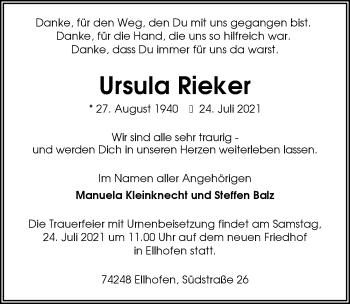 Traueranzeige von Ursula Rieker von GESAMT