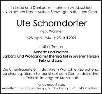 Traueranzeige von Ute Schorndorfer von GESAMT