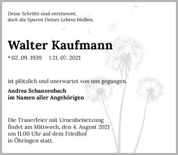 Traueranzeige von Walter Kaufmann von GESAMT