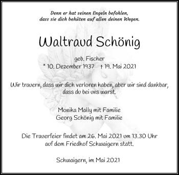 Traueranzeige von Waltraud Schönig von GESAMT