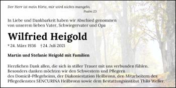 Traueranzeige von Wilfried Heigold von GESAMT