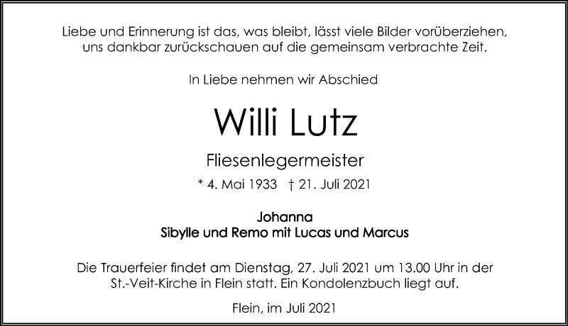 Traueranzeige für Wilhelm Lutz vom 24.07.2021 aus GESAMT