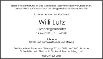 Traueranzeige von Wilhelm Lutz von GESAMT