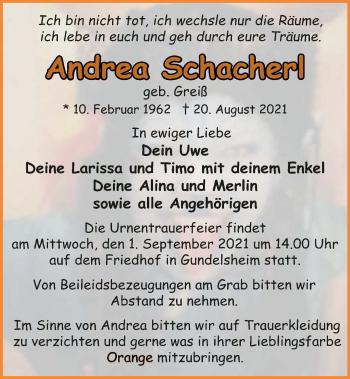 Traueranzeige von Andrea Schacherl von GESAMT