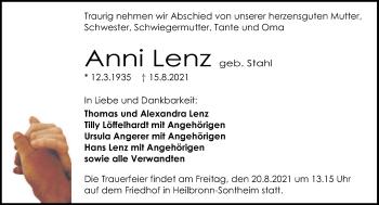 Traueranzeige von Anni Lenz von GESAMT