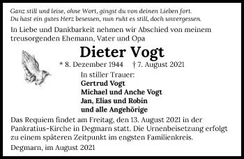 Traueranzeige von Dieter Vogt von GESAMT