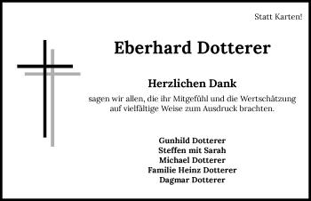Traueranzeige von Eberhard Dotterer von GESAMT