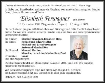 Traueranzeige von Elisabeth Ferwagner von GESAMT