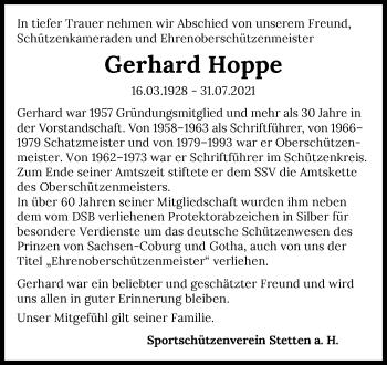 Traueranzeige von Gerhard Hoppe von GESAMT