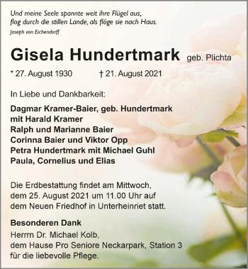 Traueranzeige von Gisela Hundertmark von GESAMT