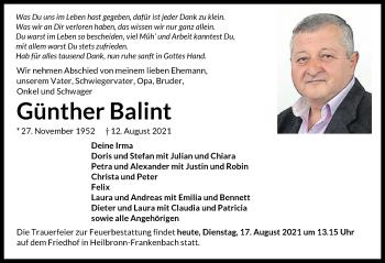 Traueranzeige von Günther Balint von GESAMT