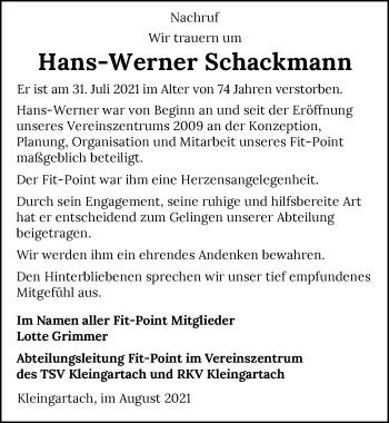 Traueranzeige von Hans-Werner Schackmann von GESAMT