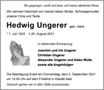 Traueranzeige von Hedwig Ungerer von GESAMT