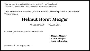 Traueranzeige von Helmut Mezger von GESAMT