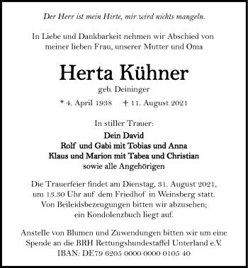 Traueranzeige von Herta Kühner von GESAMT
