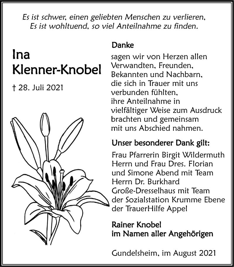 Traueranzeige für Ina Klenner-Knobel vom 21.08.2021 aus GESAMT