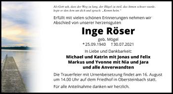 Traueranzeige von Inge Röser von GESAMT