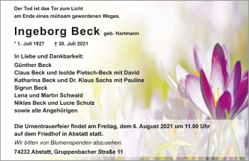 Traueranzeige von Ingeborg Beck von GESAMT