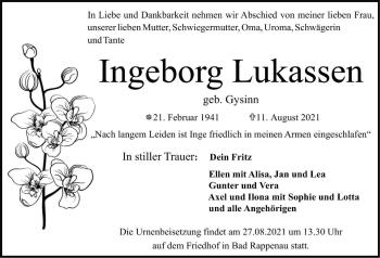 Traueranzeige von Ingeborg Lukassen von GESAMT