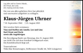 Traueranzeige von Klaus-Jürgen Uhrner von GESAMT
