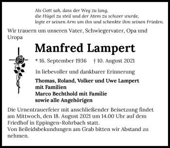 Traueranzeige von Manfred Lampert von GESAMT