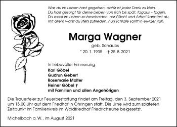 Traueranzeige von Marga Wagner von GESAMT