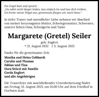 Traueranzeige von Margarete Seiler von GESAMT