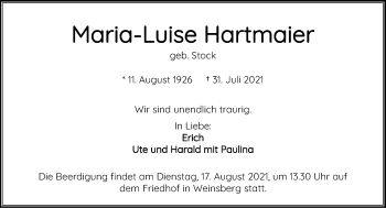 Traueranzeige von Maria-Luise Hartmaier von GESAMT