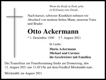 Traueranzeige von Otto Ackermann von GESAMT