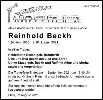 Traueranzeige von Reinhold Beckh von GESAMT