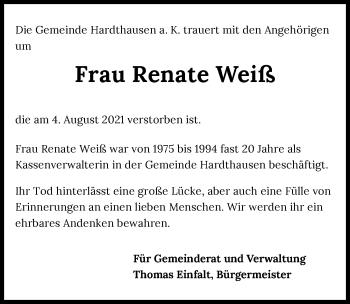 Traueranzeige von Renate Weiß von GESAMT