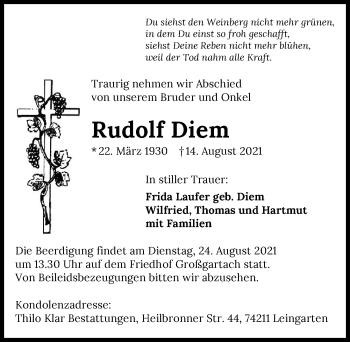 Traueranzeige von Rudolf Diem von GESAMT