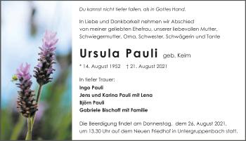 Traueranzeige von Ursula Pauli von GESAMT
