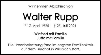 Traueranzeige von Walter Rupp von GESAMT