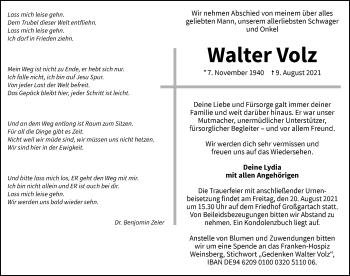 Traueranzeige von Walter Volz von GESAMT
