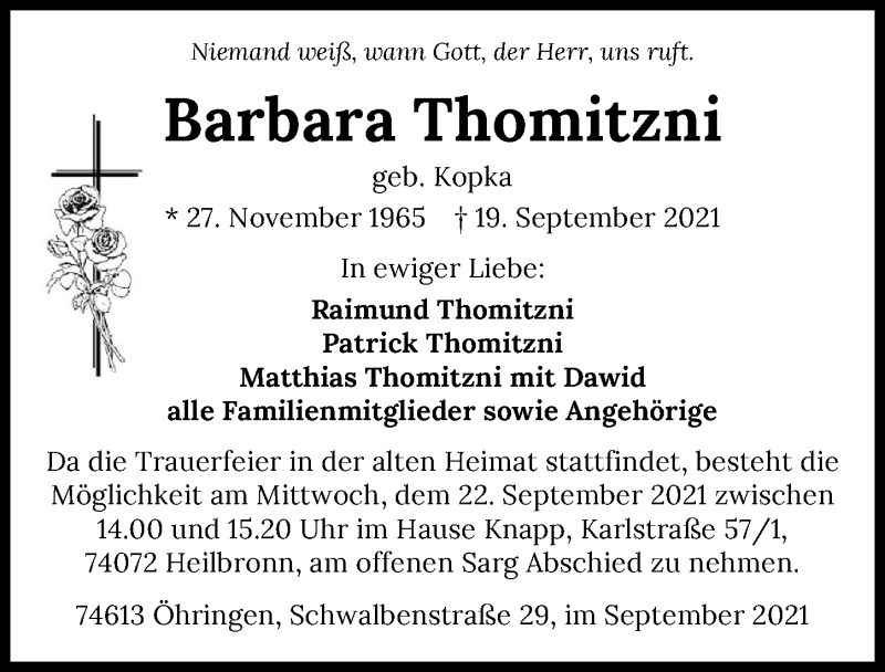 Traueranzeige für Barbara Thomitzni vom 21.09.2021 aus GESAMT