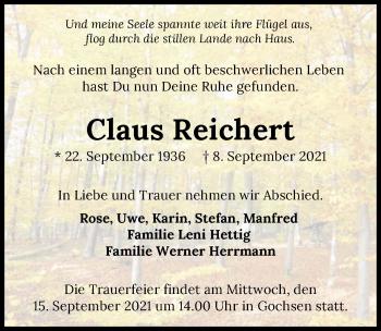 Traueranzeige von Claus Reichert von GESAMT