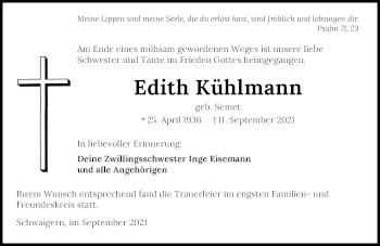 Traueranzeige von Edith Kühlmann von GESAMT