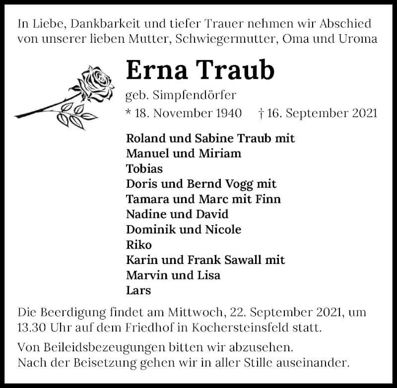 Traueranzeige für Erna Traub vom 20.09.2021 aus GESAMT