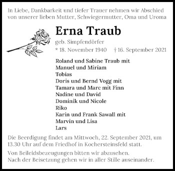 Traueranzeige von Erna Traub von GESAMT