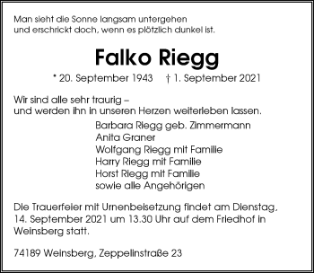 Traueranzeige von Falko Riegg von GESAMT