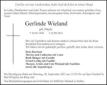 Traueranzeige von Gerlinde Wieland von GESAMT